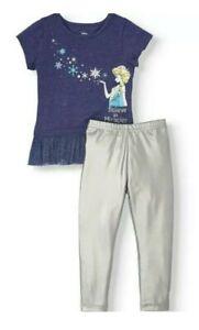 Disney Girls Frozen Elsa Short Sleeve Set Top & Silver Pant Legging Size 4T, 5T
