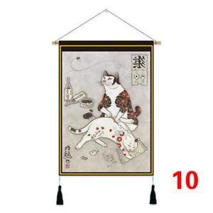 Japanese Ukiyo E Cat Wall Art Hanging Printed Tapestry Scrolls Home Decor Retro