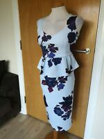 Ladies MISLOOK Dress Size 10 Blue Wiggle Peplum Party Evening Wedding Races