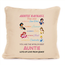 Best Auntie Disney Themed Personalised Cushion Gift From Niece or Nephew Aunty