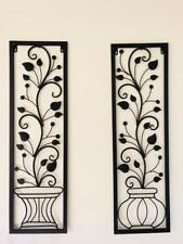2 Handmade Metal Wall Art Decor Mural Trailing Vine Plant Leaves In Vase BLK