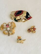 Lot 4 Vtg Butterfly Cat Fish Bee Insect Brooch Pin Rhinestones Enamel Pearl