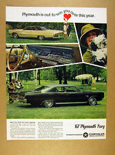 1967 Plymouth Sport Fury yellow hardtop & dark copper fast top vintage print Ad
