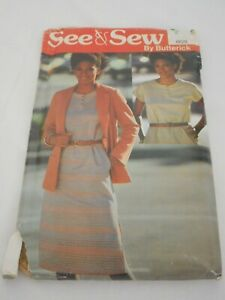Sewing pattern for women Vintage 1980s Butterick Size 14/16/18 6629 dress