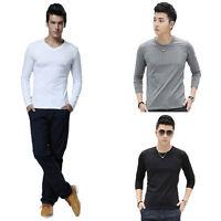Men Shirt Slim Fit Cotton Crew Neck Long Sleeve Casual T-Shirt Tops Hottest