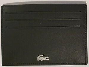 Lacoste FG Mens Cardcase Wallet - Black Leather Credit Card Holder Case