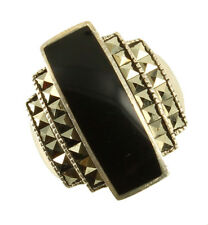 Vintage Sterling Deco Marcasite Onyx Big Ring Stunning! Size 8