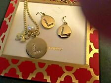 Demi Rhinestone Initial L Chain Necklace And Pierced Earrings