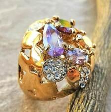 Amethyst Garnet Pink Sapphire 18K Gold Plated Wedding Engagement Ring Size 5.5