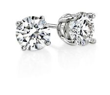 3.00 Carat Round White CZ 925 Silver White Gold Plated 7MM Unisex Stud Earring