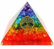 Extra Large 70-75  MM Multi 7 Chakra Natural Crystal Tree of Life Orgone Pyramid