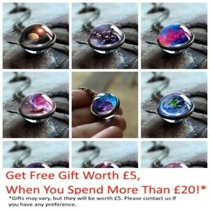 Glass Ball Solar Galaxy Necklace Pendant Moon Space Universe Birthday gift