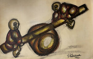 Hargreaves Ntukwana - Children at Play (Seesaw) - Original - Mixed Media. 9*14