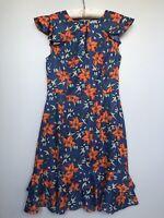 'hi there' KAREN WALKER Women Short Sleeve Ruffle Dress Floral Blue Size 8