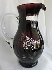 VINTAGE BOHEMIAN RUBY RED CUT TO CLEAR GLASS CRYSTAL PITCHER