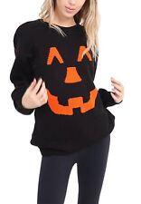 New Women's Ladies Halloween Pumpkin Print Knitted Jumper Top  Sweater Size 8-26