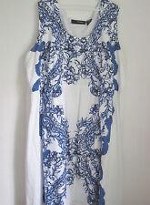 34W Denim 24/7 Plus Size Woman Sleeveless Blue & White Floral Print Sun Dress
