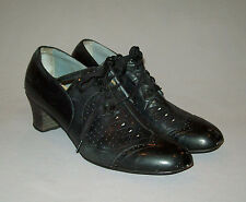 Old antique vtg 1930s Womans Shoes black leather size 8 very nice condition