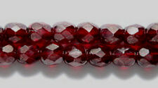 4mm Garnet Luster, Czech Glass Fire Polish Beads, 100, very dk red