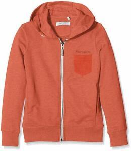 $395 Teddy Smith Boy'S Orange Zip Front Long Sleeve Pocket Front Hoodie Size 16