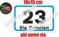 Numeri civici numero civico DIBOND ALLUMINIO numero e via pers. 10x15 cm