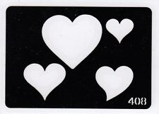 GT408 Body Art Temporary Glitter Tattoo Stencil Hearts Heart
