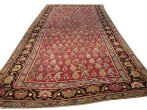 6 x 14 ft Handmade Red Kazak Antique Irregular Shape Over 100 y o Estate Rug