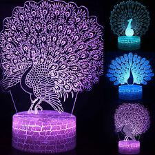 3D LED Pfau Nachtlicht Tischleuchte Nachtlampe Lampe Kinder Zimmer Nachtleuchte