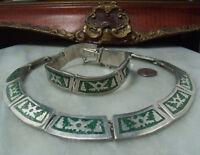 Art Deco Vintage Sterling Silver Super Heavy Mosaic Mexican Necklace & Bracelet