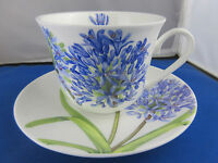 AGAPANTHUS FINE BONE CHINA  BREAKFAST CUP SAUCER, ROY KIRKHAM, MADE IN ENGLAND