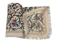 """Om Vintage 100% Woolen Hand Embroidered Beige Carpet Size - 68"""" / 49"""" C22"""