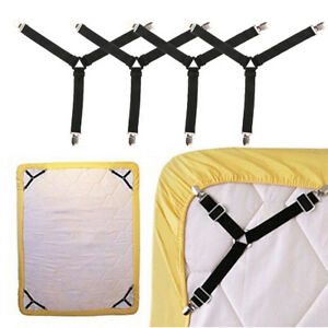 4Pcs Bed Pad Clip Straps Suspenders Triangle Sheet Band Adjustable Fitted Black