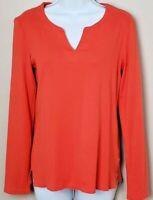 Jones New York Signature Women's L/S Pullover Tee - Bright Orange - Sz Medium