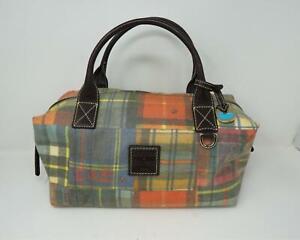 VTG Dooney & Bourke Madras Plaid Zip Top Satchel Purse Bag Multicolor