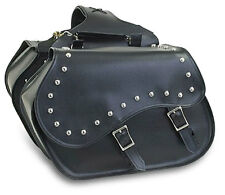 SLANTED MOTORCYCLE SADDLEBAGS w/STUDS UNIVERSAL FIT HARLEY-HONDA-INDIAN-YAMAHA