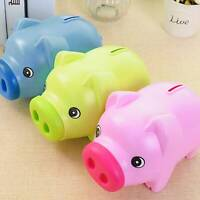Plastic Cute Piggy Bank Pig Cash Tin Coin Money Saving Box Toy Kids Gifts UK STK