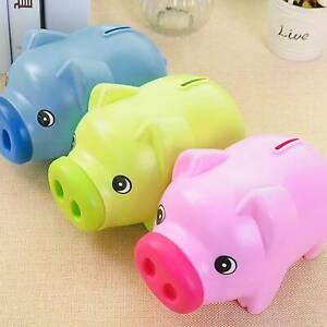 Piggy Bank Saving Coins Money Box Cash Fund Gift Plastic Pig Children Kids Toy
