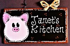 PIG Personalized Name KITCHEN SIGN Decor Wall Art Plaque Barnyard Country Decor