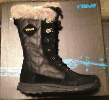 5934cfd060ef7 Teva Lenawee Black Leather BOOTS Size 5 100305