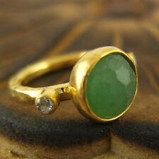 Handmade Hammered Designer Emerald Ring W Topaz Gold Over Sterling Silver