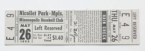 5/26/1955 Minneapolis Millers Unused Ticket Stub w/ Rain Check @ Nicollet Park