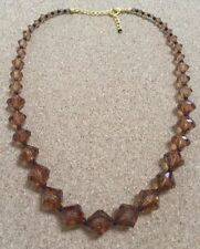 FASHION Graduated Brown Plastic Facet Cut Bead Necklace Max 21 Inches Light