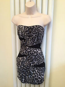JANE NORMAN Stunning Sexy Animal Print Bandeau Party Dress Size 12