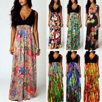 UK Womens Maxi Boho Floral Summer Beach Long Dress Evening Cocktail Party Dress