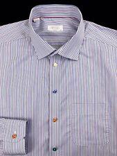 ETON MENS MULTI COLOR STRIPED BUTTON FRONT CLASSIC FIT DRESS SHIRT 18.5