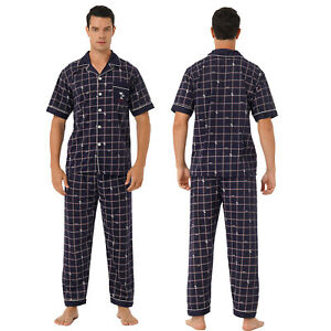 Men Short Sleeve Cotton Pajamas Set Pants Tops Loungewear Nightwear Sleepwear