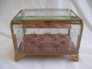 ANTIQUE FRENCH BRASS ETCHED,BEVELED GLASS JEWEL BOX,LATE 19th CENTURY