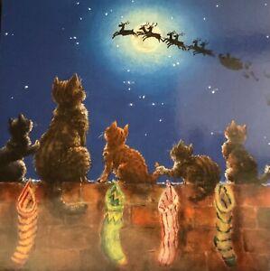 "CHRISTMAS CARD SANTA IN THE SKY-""CHRISTMAS CATS""- STOCKINGS - SINGLE CARD -13cm"
