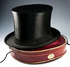 Antique French Victorian - Edwardian Silk Top Hat, Collapsible, Orig Travel Box