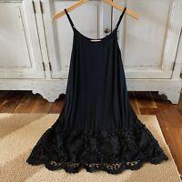 1X NWT Plus Size Black Crochet Lace Layering Tunic Tank Womens XL Top Extender